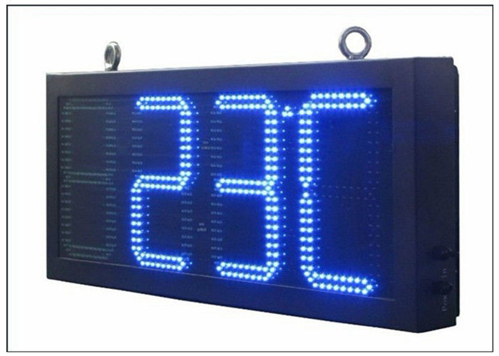 Double Sides Blue LED Gas Station Sign IR 10M RF 100M with Poosled Time Temperature System