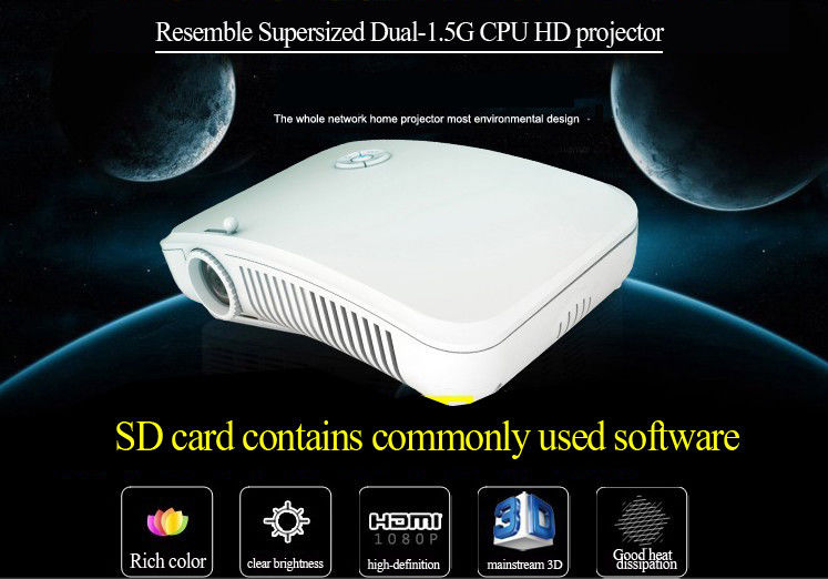 3D Mini Portable LED Projector 1080P LCD 4000 ANSI Lumens For Multiple Screens